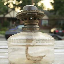 Antique Miller Oil Lamp Glass Brass Flip Top Kerosene Burner Collectible Lantern