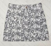 H&M &Denim Snake Print Short Summer Denim Skirt Size UK 12