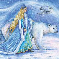 Modern Postcard Polar Bear Christmas New Year Snow Queen Unposted Russian Art