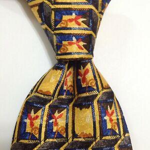 ERMENEGILDO ZEGNA Men's Silk Necktie ITALY Designer Geometric Yellow/Multi GUC