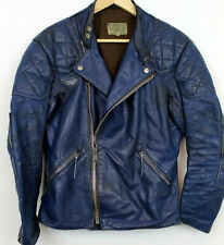 Vintage INTERSTATE biker leather jacket motorcycle silver zips black S 36 Blue!