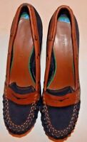 Tommy Hilfiger Womens Black & Brown Suede Pumps Heels Shoes Size 7.5