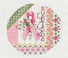 Breast Cancer Pink Ribbon SURVIVOR handpaint Needlepoint Canvas Kelly Clark