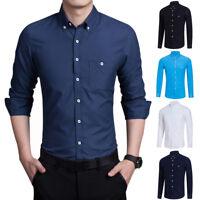 Men Casual Botton Down Shirts Slim Fit Long Sleeve Business Formal Plain T-Shirt