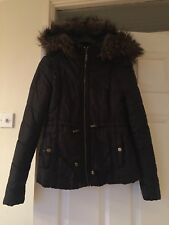 Lipsy Parka Coat With Faux Fur Hood Size 10