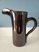 Antique Vintage Stoneware Rockingham Pitcher Tackett 1958 Mid Century Modern