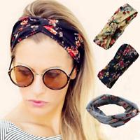 Ladies twist knot pattern headband elastic head wrap turban hair band flower Hot