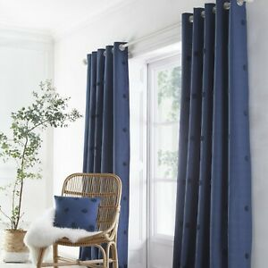 Appletree Boutique Zara Spotted Fully Lined 100% Cotton Eyelet Curtains Navy