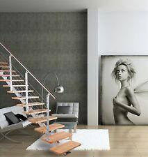 Mittelholmtreppe LINEO aus Stahl: grau - Buchestufen hell - 14 Stufen