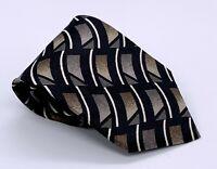 Haggar Men's Tie Black Brown Abstract Polyester 56 x 3.75 USA 1700 Ties 4 Sale