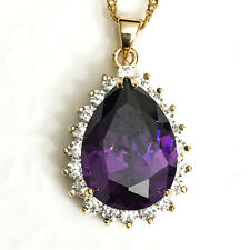 "Large Amethyst Purple Teardrop Pendant Necklace Chain 18"" 14k Gold Plated YBP38"