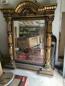 NEW FRENCH VICTORIAN ORNATE Scroll ARCH Oversize Bronze  Floor Mirror. 49w X 63h