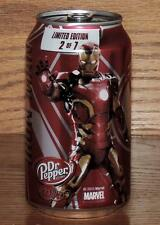 """2015 USA DR PEPPER MARVEL AVENGERS AGE of ULTRON """"IRON MAN"""" 12oz 355mL FULL CAN"""