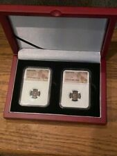 HEIRLOOM ANCIENT ROMAN NGC CERTIFIED TWO COIN SET IN CHERRY WOODEN DISPLAY CASE