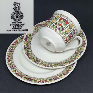 Royal Doulton 1971 Fireglow Vintage English Bone China Trio Set Cup Saucer Plate