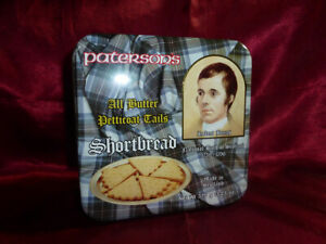 Vintage TIN Paterson's All Butter Petticoat Tails Shortbread Food Advertising
