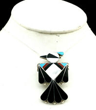 Zuni Albert Gasper Sterling Silver Large Multi-Stone Inlay Thunderbird Necklace