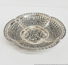GIANT Antique Repousse Cherub Floral 800 Fine Silver German Fruit Bowl 15.6ozt