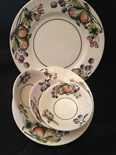 "Crown Devon English China ""Evesham"" 1 Dinner Plate, 3 Fruit Bowls, 1 Rimmed Bowl"