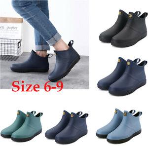 Men Women Wellington Rain Boots Ankle Wellies Outdoor Waterproof Shoes Size 6-9