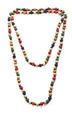 MULTICOLOUR RIDGED WOODEN BEAD AND SMALL BLACK CERAMIC BEAD LONG NECKLACE (ZX44)