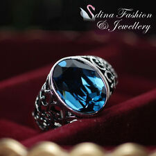 18K White Gold Plated Made With Swarovski Crystal Vintage Oval Cut Sapphire Ring