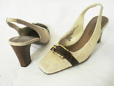 ETIENNE AIGNER MIDWAY LINEN LOOK FABRIC BROWN LEATHER SLINGBACK HEEL SHOE SZ 6M