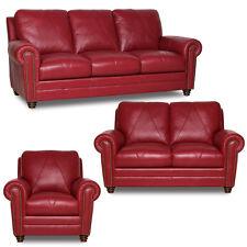 New Luke Leather Weston Cherry Red 3 Piece Set Sofa Loveseat