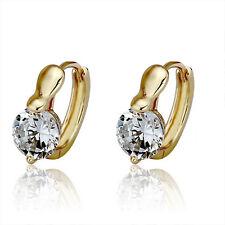 Elegant 18 k Gold Plated Hoop Earrings with White Zircons Hoops E475