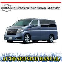 NISSAN ELGRAND E51 2002-2009 3.5L V6 ENGINE REPAIR SERVICE MANUAL~ DVD