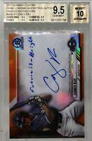 Corey Ray 2017 Bowman Chrome Prime ORANGE Refractor ON CARD Autographed RC POP 3
