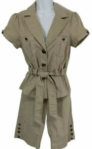 Heart & Soul Tan Walking Shorts And Belted Top Set Juniors Size 3 Career Casual