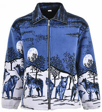 Men Women Animal Print Warm Thick Fleece Winter Shirt Jacket/coat S-2xl 2xl Blue Wolves