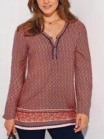 Women's Size 10,12,14,16 Pretty Copper Floral Print, Long Sleeve Top (b17)