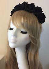 Black Rose Flower Floral Crown Headband Garland Festival Boho