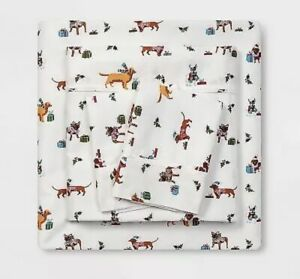 Christmas Dogs Full Flannel Sheet Set Threshold Cotton NWT 4 Piece 1204