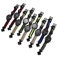 Outdoor Survival Watch Bracelet with Compass Flint Fire Starter Paracord