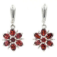 ELEGANT EARTH MINED 6X4 MM TOP GARNET ROUND OVAL RED STERLING SILVER 925 EARRING