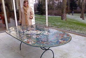 8'x4' Green Marble Dining Table With Stand Marquetry Gems Inlay Furniture Decor