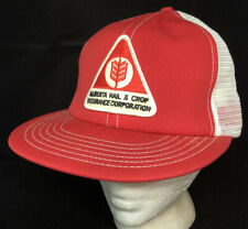 Vtg Alberta Hail Mesh Trucker Hat Snapback Patch Crop Insurance Logo Cap Red