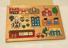 Vintage 1971 Fisher-Price Community Wooden Puzzle #502 10 Pieces Excellent