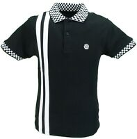 Ska & Soul Black Chequerboard Trim 100% Cotton Polo Shirt