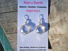 Angel Aura Quartz 6 Sided Star Star of David Earrings-H2O-Regnerates Body