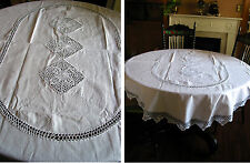 """68"""" by 50"""" Oval Hand Crochet Lace Tablecloth 100% Cotton New  Shabby VTG Wedding"""