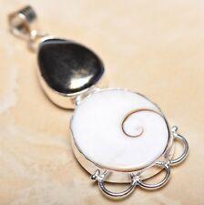 "Handmade Shiva Eye Shell Gemstone Pure 925 Sterling Silver Pendant 2.75"" #P14288"