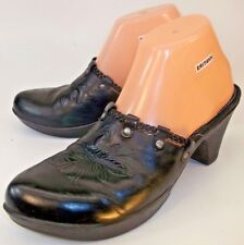 Indigo By Clarks Womens Shoes Mules US 9 M Black Leather Slip-on Floral Clogs