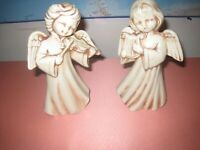 Vintage 1974 Ceramic 8 inch Tall Angels Playing w/Musical Instruments (Lot of 2)
