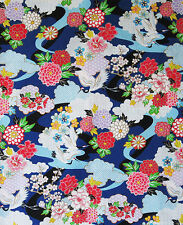 Blue Floral Garden: Asian Japanese Kimono Design Quilt Fabric (1/2 Yd.)