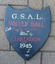 1945 Wooden GSAL Volleyball Championship Plaque,W/Players Names,Won By Clarendon