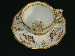 Antique Old Paris Porcelain Floral & Gold Cup & Saucer Nice!!